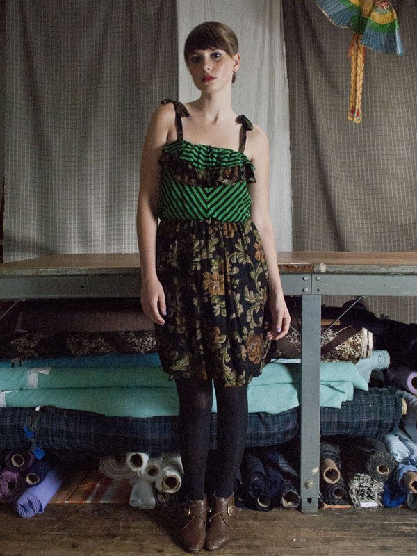 Green and black ruffle dress_1_small
